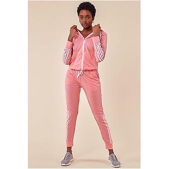 Cosmochic Stripe Detail Hooded Tracksuit Set - Pink