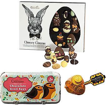 Martin's Chocolatier Easter Gift Set   Mini Chocolate Quail Eggs   Belgian Chocolate Coins   Easter Chocolate Assortment