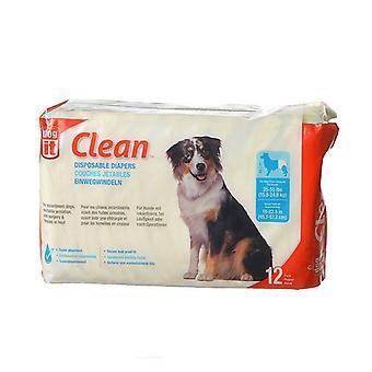 """Dog It Clean Одноразовые подгузники - Большие - 12 упаковки - 35-55 фунтов Собаки - (18-22,5 """" Талия)"""