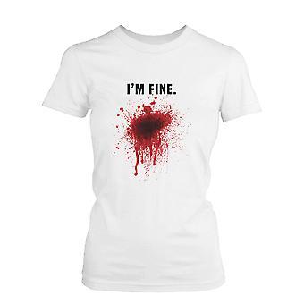 Jag är Fine blodiga Kvinnors vit Tee roliga Halloween T-Shirt Graphic Tee roliga bomullsskjorta