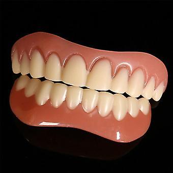 (עליון & ערכת ציפויים תחתונים) ציפוי חיוך שיניים שווא הצמד על ציפוי מיידי שן קוסמטית