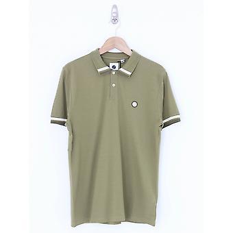 Pretty Green Tipped Collar Polo - Khaki