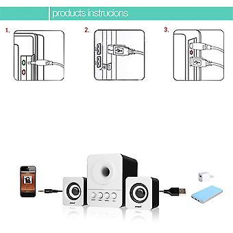 Sada Usb2.1 & 3.5mm Ljudgränssnitt Stereo Subwoofer Audio Bärbar Högtalare