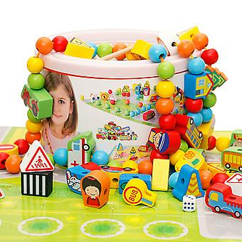 124 Bead Rope Children's Games, Intellectual Motor Skills Development, Educational Toys With Storage Buckets