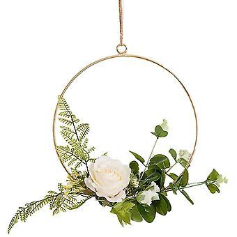 Anillo de metal redondo Flor artificial decoración colgante decoración de guirnalda Tamaño 20cm (rosa)