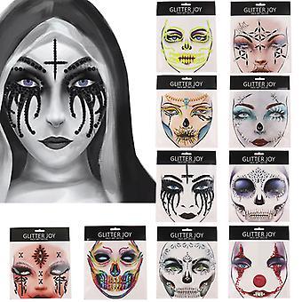 Halloween Kallo Silmä Kasvot Väliaikaiset Tatuoinnit Art Tarra Diy Meikki Cosplay Rekvisiitta