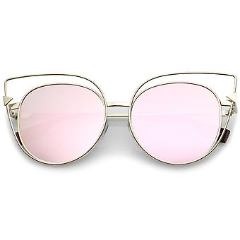 Oversize Metal Cutout Frame Arrow Accent Pink Mirror Flat Lens Cat Eye Sunglasses 57mm