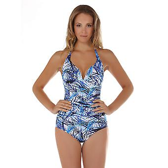 Seaspray 11-2347 Women's Fiji Blue and White Leaf Print Shaping Swimsuit