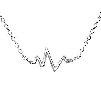 Welle Inline - 925 Sterling Silber Plain Halsketten - W22353X