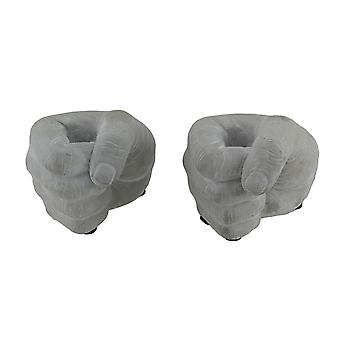 Holding Hands Decorative Cement Fist Grip 2 Piece Taper Candle Holder Set