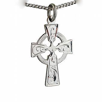 Zilveren 23x16mm hand gegraveerde knoop patroon Keltisch kruis met een curb Chain 24 inch