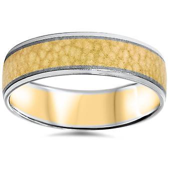 Ανδρική 14K χρυσό 2 τόνος σφυρήλατο άνεση Fit γάμου μπάντα