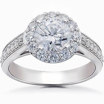 Diamond Halo 2 karat forlovelsesring kabal runde strålende 14k gull forbedret