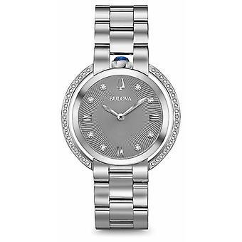 Bulova Womans Rubaiyat Silver Tone Diamond 96R219 Watch