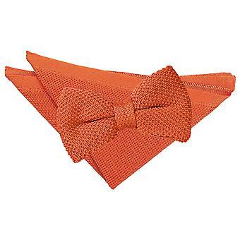 Burnt Orange Knitted Bow Tie & Pocket Square Set