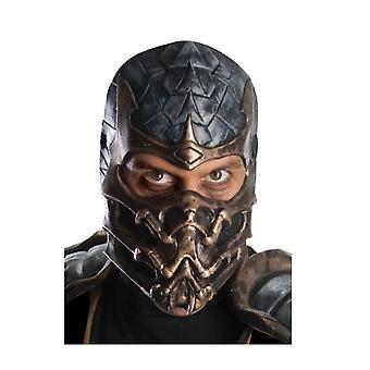 Scorpion Mortal Kombat Ninja Men Deluxe Costume maschera in lattice sovraccarico
