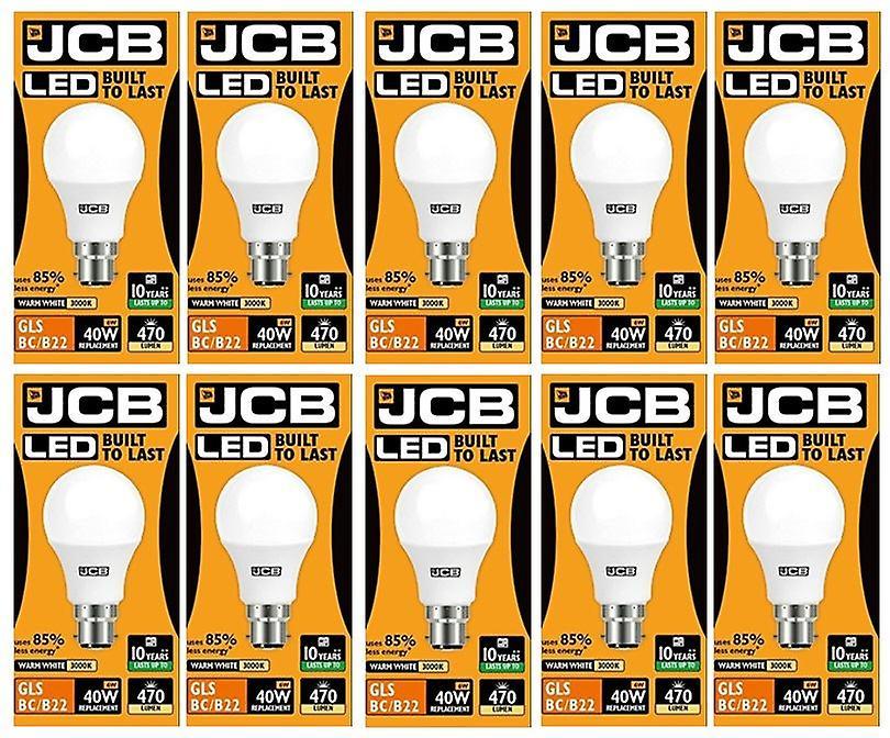 10 X JCB  6w = 40w LED GLS Opal BC/B22 3000k Warm White 6w 40W [Energy Class A+]