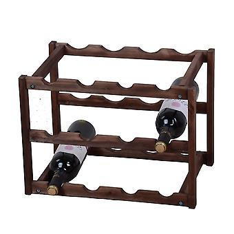 Knight Nora 3 Tier houten wijnrek donkere kleur gemakkelijk naar winkel
