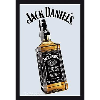 Jack Daniel's bottle mirror wall mirror with black plastic framing wood.