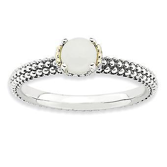 2,5 mm 925 sterling sølv polert spiss sett finish og 14k stables uttrykk hvit forsegling ring smykker gaver til Wom