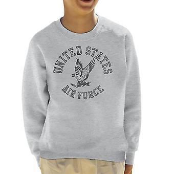 US Airforce Eagle Black Text Kid's Sweatshirt