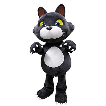 mascot SPOTSOUND of gray and white cat with yellow eyes