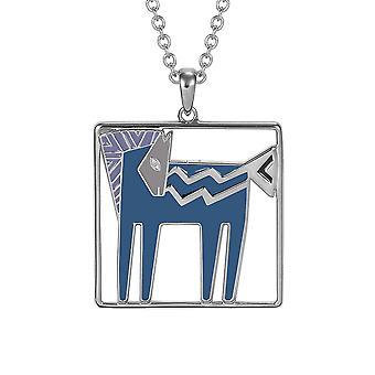 Laurel Burch Teal / Lavender Temple Horse Cloisonne Pendant w/ Necklace