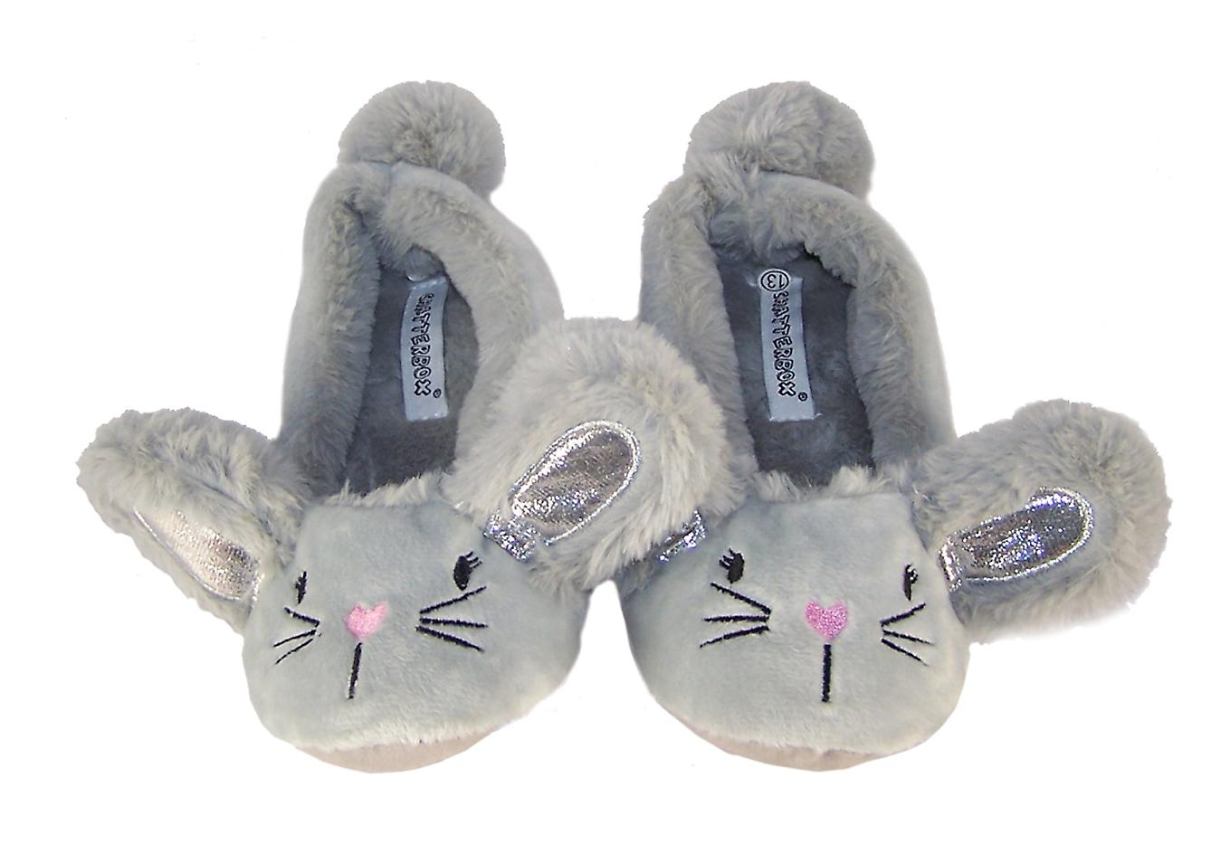 Childrens silver grey furry mouse slippers