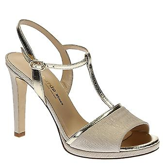 High heels platinum leather and satin ankle strap sandals