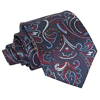 Cravate classique de marine & Bourgogne Cypress Paisley