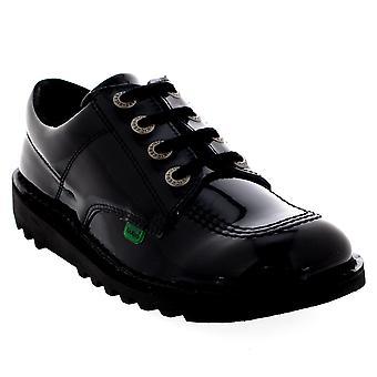 Womens Kickers Kick Lo Core Patent School Work Leather Black Flat Shoes