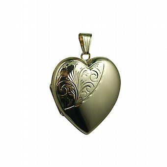 9ct Gold 30x28mm half hand engraved heart shaped Locket
