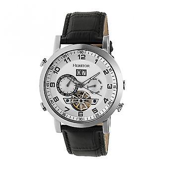 Heritor automaattinen Edmond nahka-Band Watch w/päivä - hopea