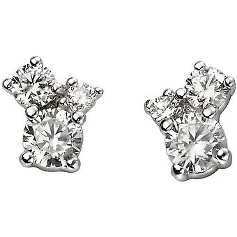 Beginnings Triple Stone Cubic Zirconia Earrings - Silver