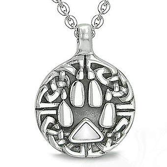 Amulett keltische Schild Knoten Wolf Pfote Schutz magische Dreieck White Cats Eye Anhänger Halskette