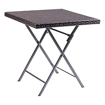 Rattan Effect Square Folding Bistro Dining & Drinks Table - Indoor & Outdoor