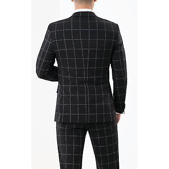 Dobell Mens Black Suit kurtka Regular fit wycięcie Lapel biały okienko sprawdzić