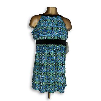 Fit 4 U Plus Badeanzug Hi Neck Dresskini Blau / Schwarz A304230