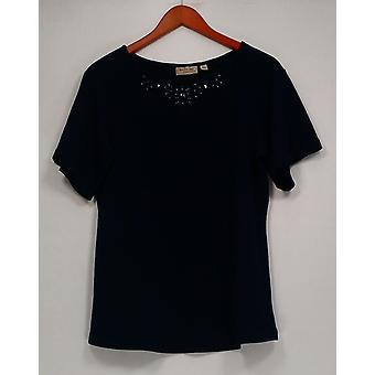 George Simonton Women's Top Textured Knit Bateau Neck Blue A265405