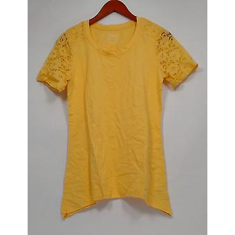 Denim & Co. Women's Top XXS Short Lace Sleeve Trapeze Hem Yellow A290285