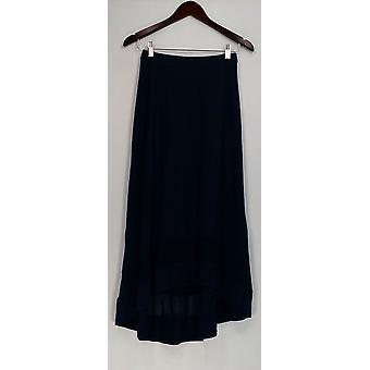 H par Halston Jupe Hi-Low Rayon Blend Knit Navy Blue A277943