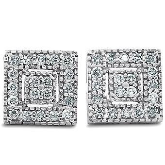 1/3 Ct Diamond Pave Studs 14k White Gold Womens Boucles d'oreilles 1/3'quot;