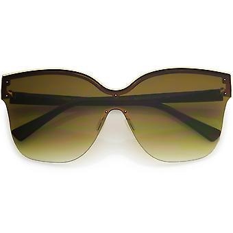Moderni tyylikäs oversize Semi-rimless kaksisävyinen perhonen aurinko lasit 63mm