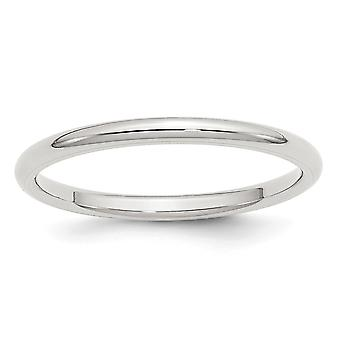 925 Sterling Silver 2mm Comfort Fit Band Ring - Ring Size: 4 to 13.5