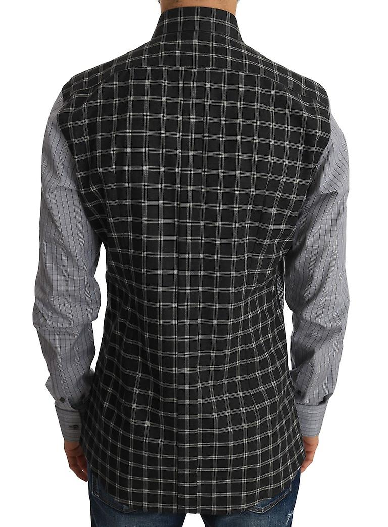 Gray Check and Plain Contrast Cotton Gold Slim Fit Shirt