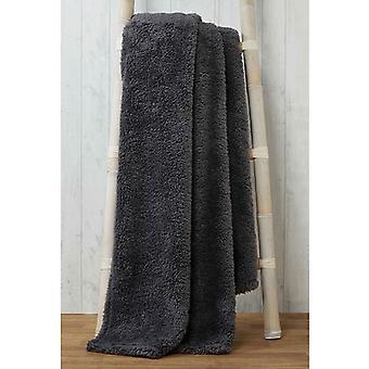 Acurrucarse ropa de cama Teddy Fleece Manta Tirar 130cm x 180cm - Carbón