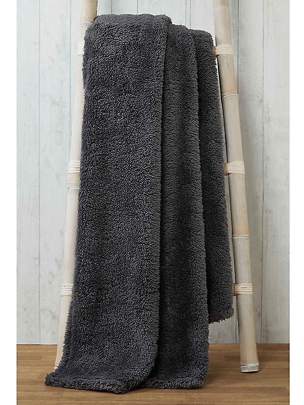 Snuggle Bedding Teddy Fleece Blanket Throw 130cm x 180cm - Charcoal
