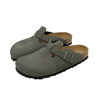 Gris de los zapatos de Birkenstock Zuecos Boston señoras casa Zuecos mulas de zapatillas