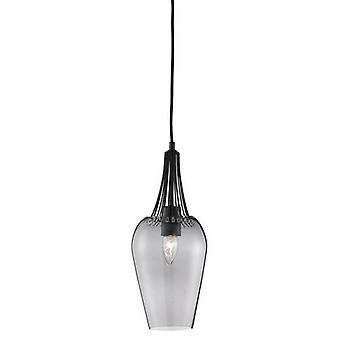 Whisk Pendant Light With Trim & Smoked Glass Shade