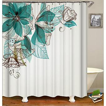 Cortina de ducha de flores turquesas